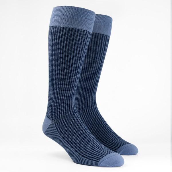 Micro Houndstooth Slate Blue Dress Socks