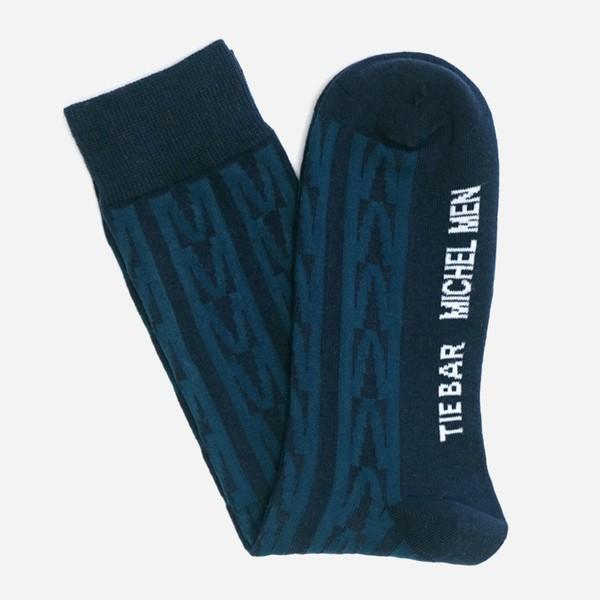 Tie Bar x Michel Men Herringbone Navy Dress Sock