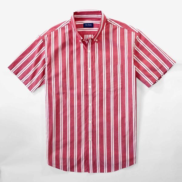 Awning Stripe Red Short Sleeve Shirt