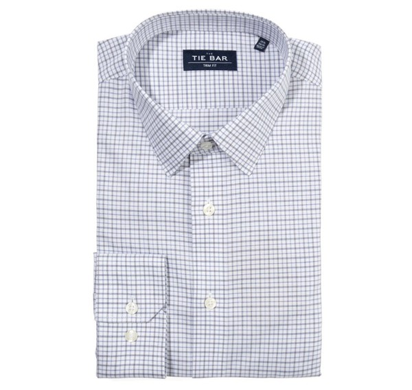 Twill Tattersall Blue Non-Iron Dress Shirt