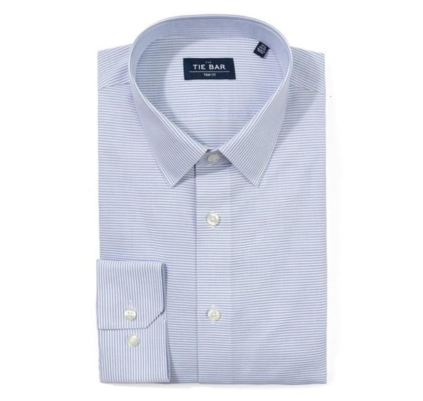 Horizontal Stripe Blue Non-Iron Dress Shirt