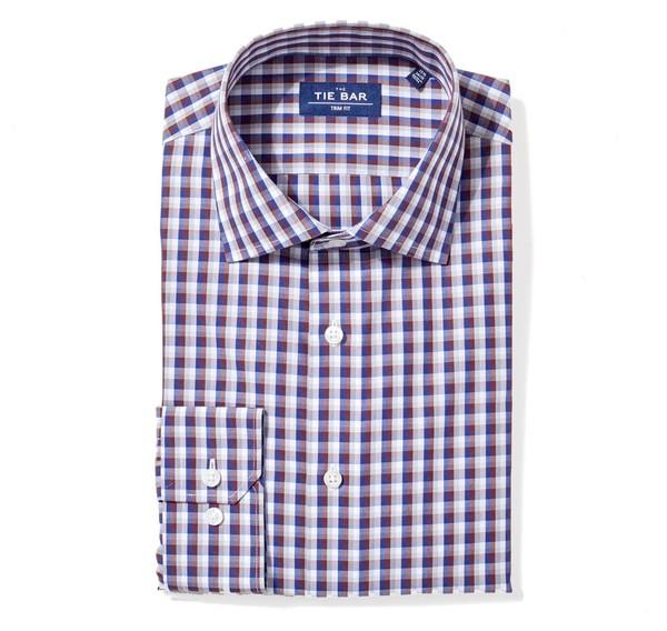 Faded Gingham Navy Non-Iron Dress Shirt