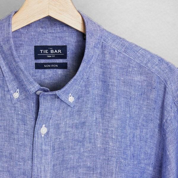 Linen Light Blue Non-Iron Casual Shirt