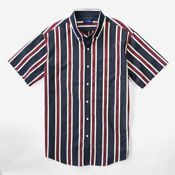 Multi Camp Stripe Navy Short Sleeve Shirt