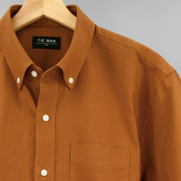 The Modern-Fit Oxford Brown Casual Shirt