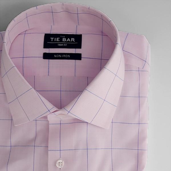 Striped Windowpane Pink Non-Iron Dress Shirt