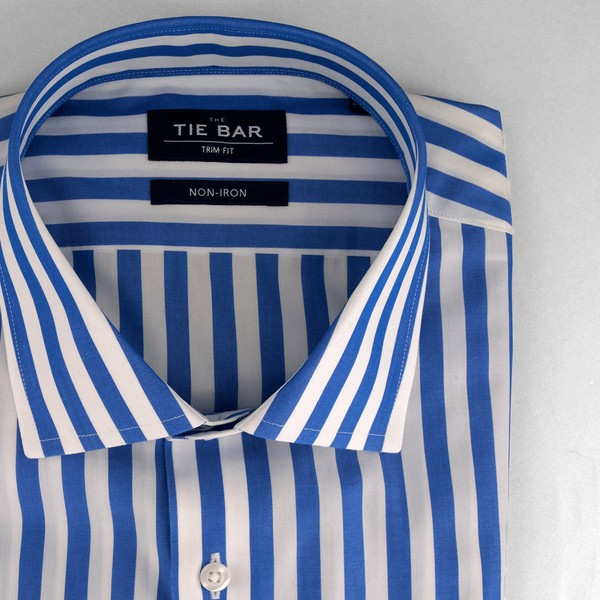 Cabana Stripe Royal Blue Non-Iron Dress Shirt