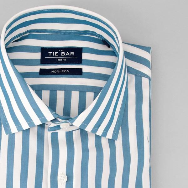 Cabana Stripe Teal Non-Iron Dress Shirt