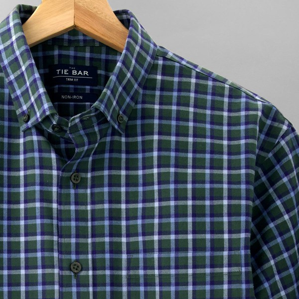 Gingham Flannel Hunter Green Non-Iron Casual Shirt