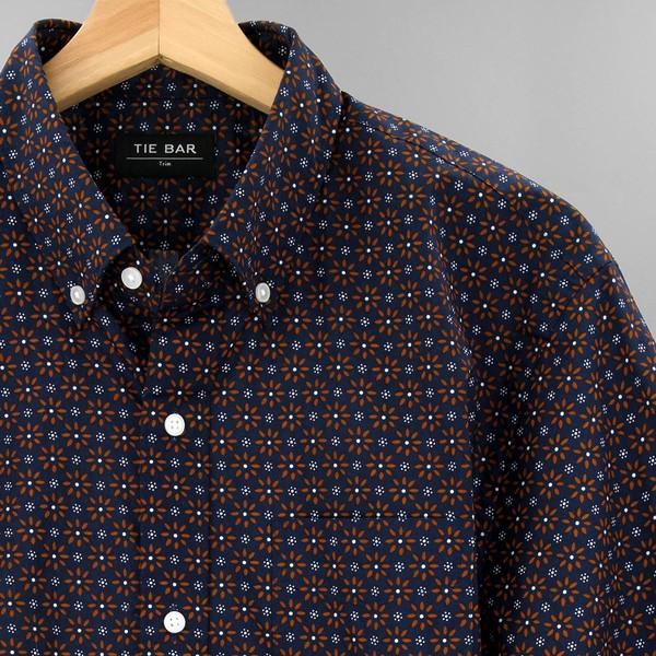 Floral Garden Foulard Navy Casual Shirt