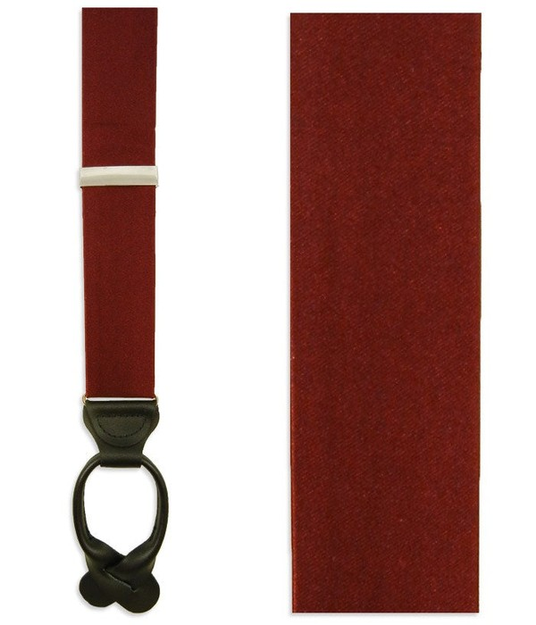 Solid Satin Burgundy Suspender