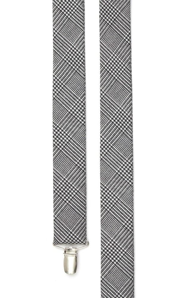Wool Suiting Glen Check Black Suspender