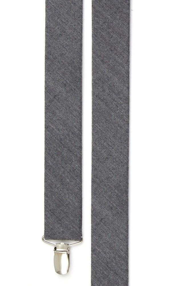 Wool Suiting Herringbone Grey Suspender