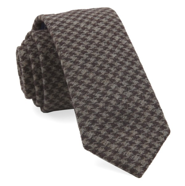 Brushed Cotton Houndstooth Brown Tie