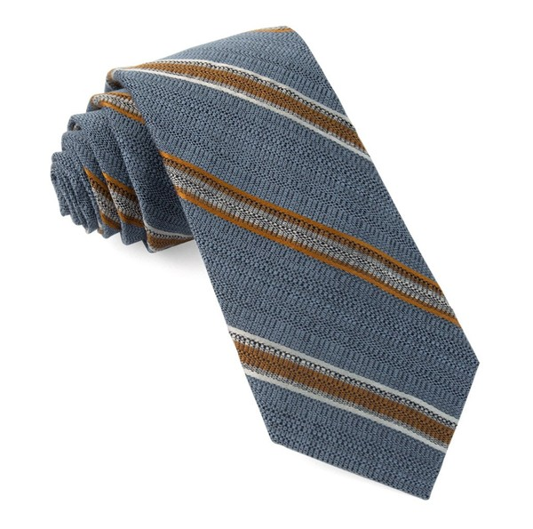 Hutton Stripe Steel Blue Tie