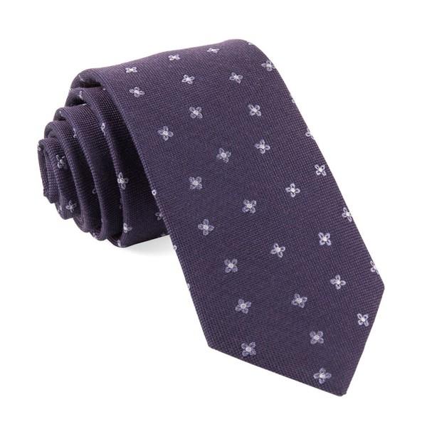 Floral Twist Eggplant Tie
