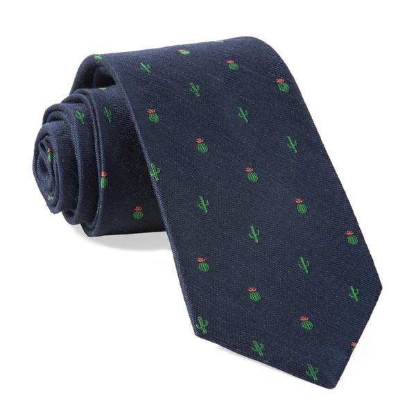 Desert Cacti Navy Tie