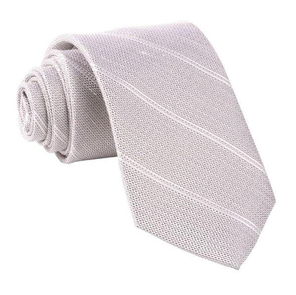 Silver Stripe Light Champagne Tie