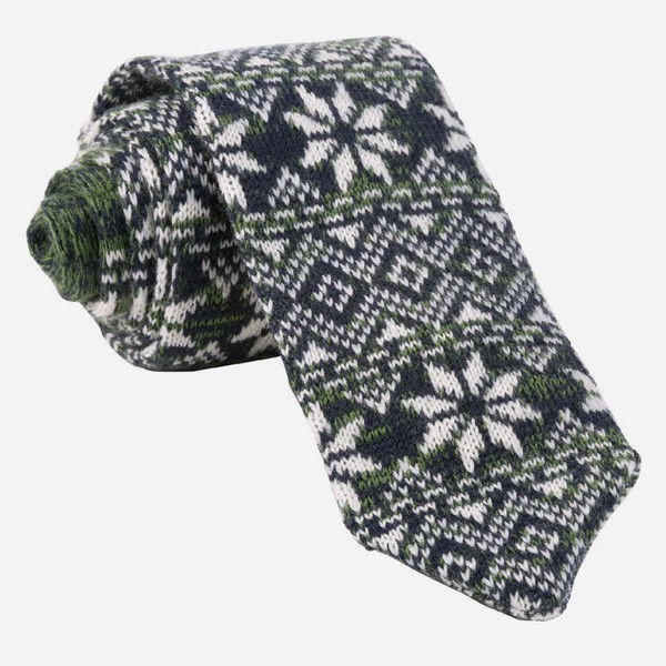Frosted Snowflake Green Tie
