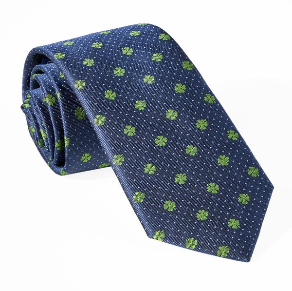 Lucky Four Leaf Clover Navy Tie