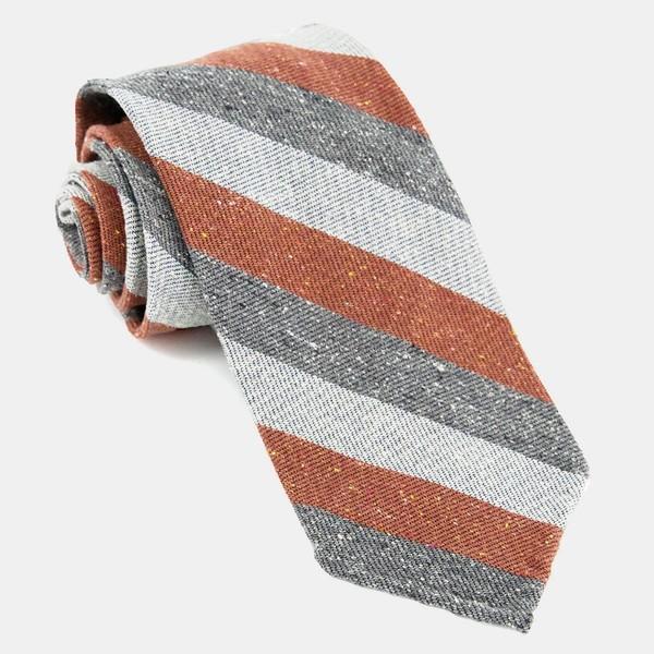Unlined Textured Stripe Rust Tie