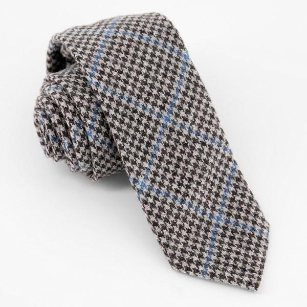 Unlined Houndstooth Wool Grey Tie