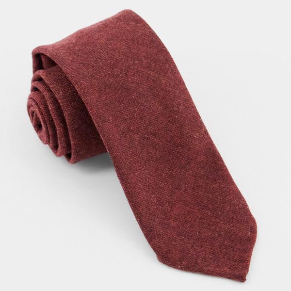 Unlined Solid Wool Burgundy Tie