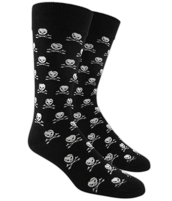 Skull And Crossbones Black Dress Socks