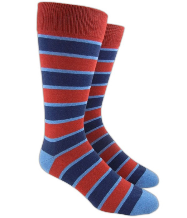 Bold Stripe Red Dress Socks
