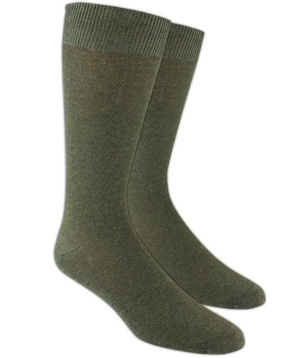 Solid Texture Army Green Dress Socks