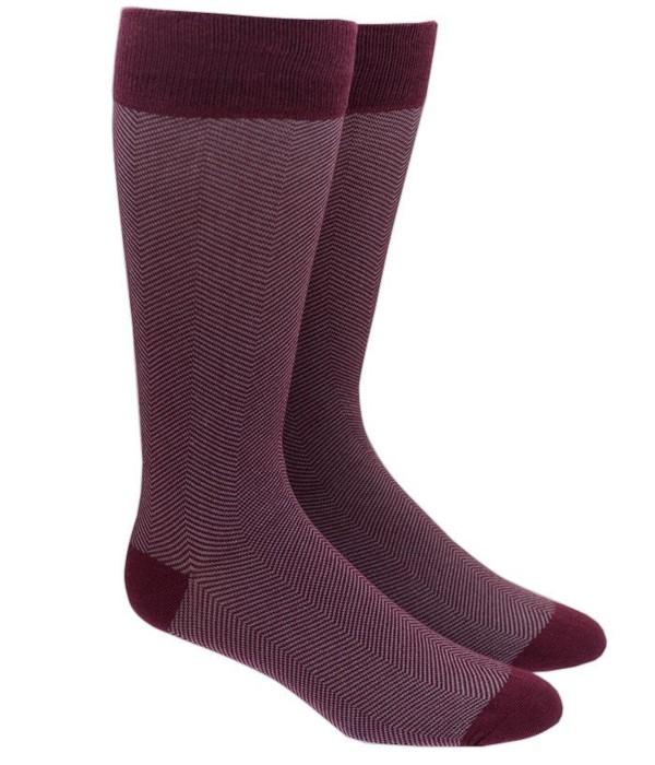 Herringbone Burgundy Dress Socks
