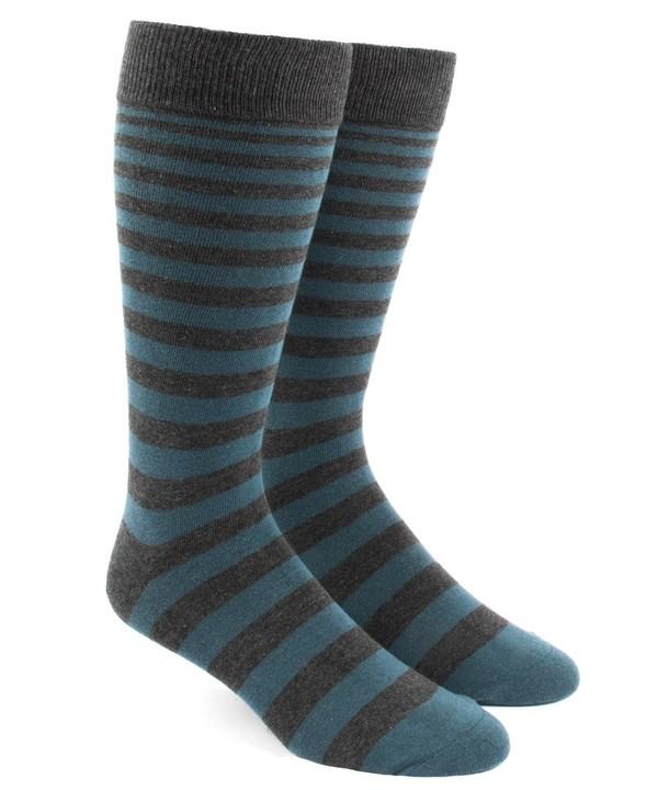 Ombre Stripe Teal Dress Socks