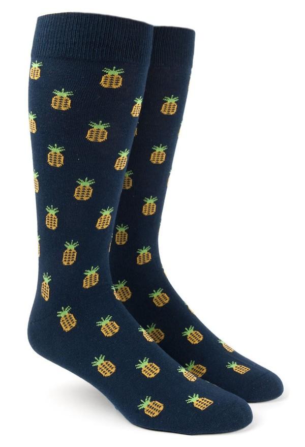 Pineapple Navy Dress Socks