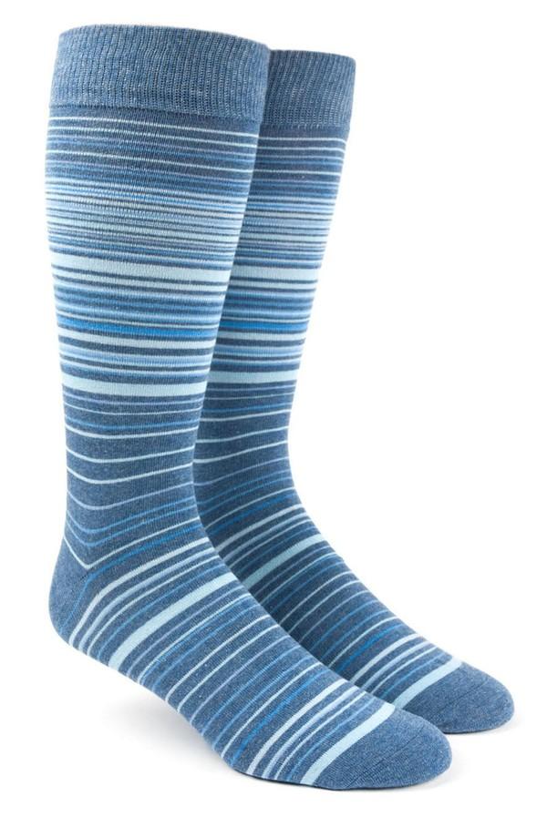 Multistripe Blue Dress Socks