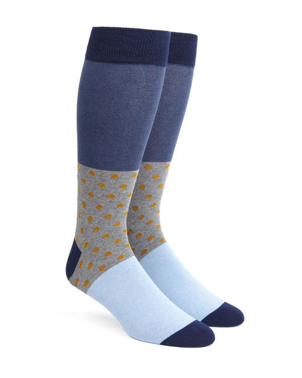 Colorblock Dots Orange Dress Socks