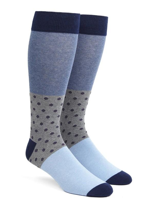 Colorblock Dots Eggplant Dress Socks