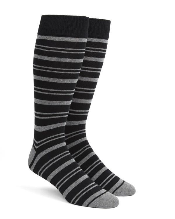 Path Stripe Black Dress Socks
