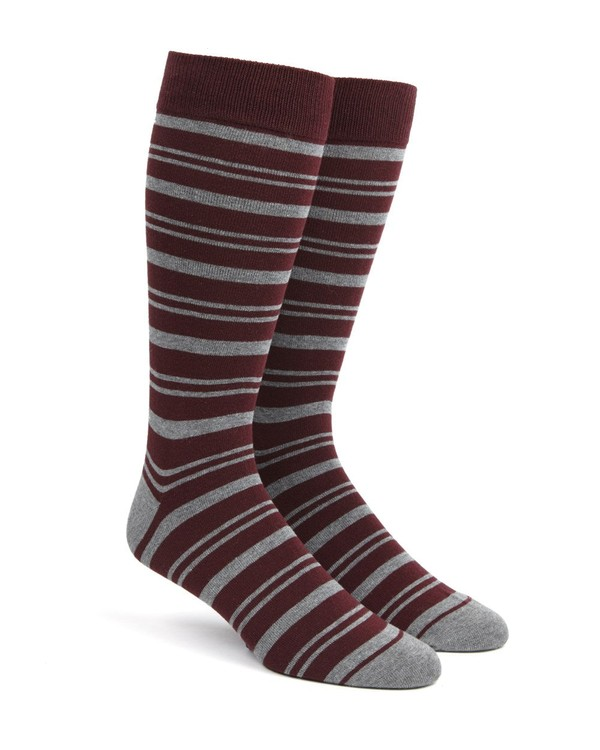 Path Stripe Burgundy Dress Socks