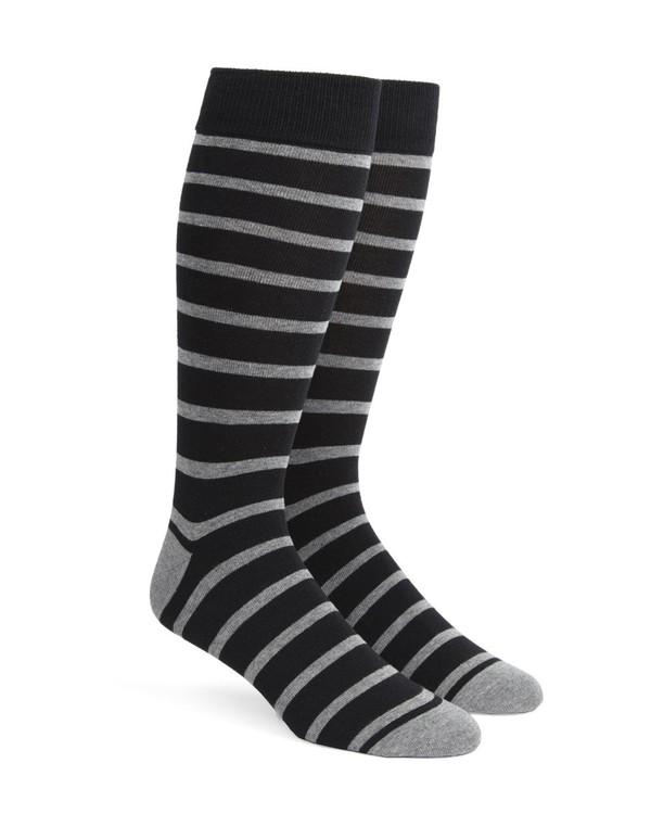 Trad Stripe Black Dress Socks