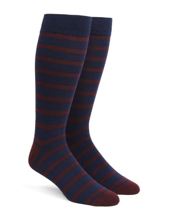 Trad Stripe Burgundy Dress Socks