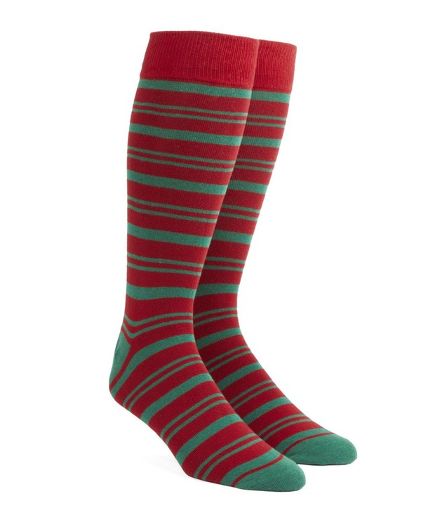 Path Stripe Red Dress Socks