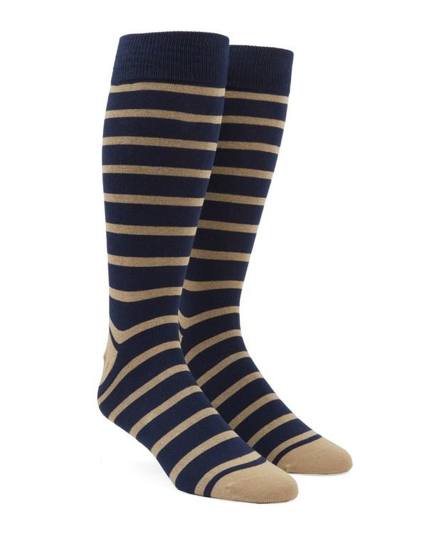 Trad Stripe Tan Dress Socks