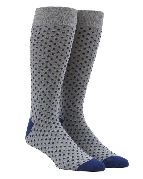 Pindot Grey Dress Socks