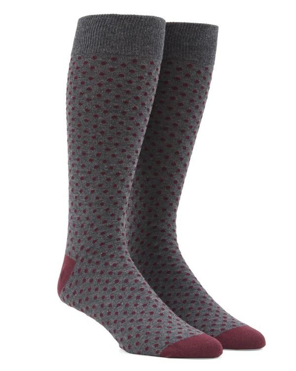 Pindot Burgundy Dress Socks