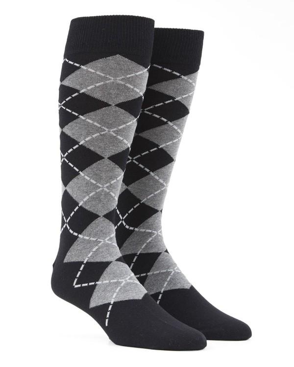 New Argyle Black Dress Socks