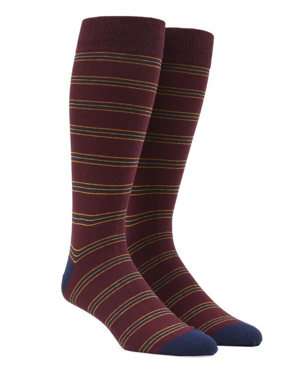 Rival Stripe Burgundy Dress Socks