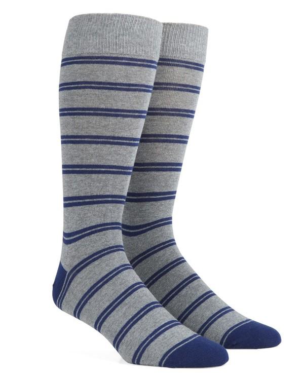 Center Field Stripe Navy Dress Socks