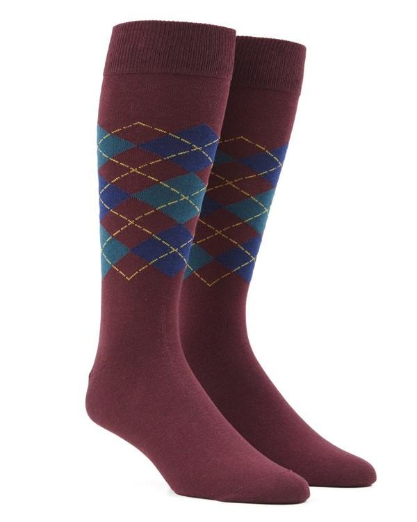 Panel Argyle Burgundy Dress Socks