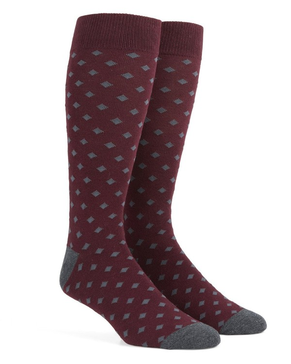Diamonds Burgundy Dress Socks