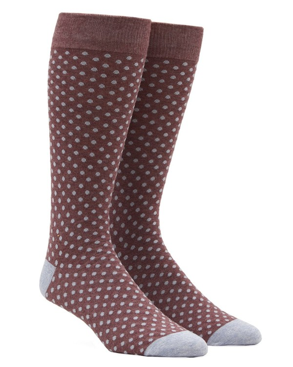Pindot Marsala Dress Socks